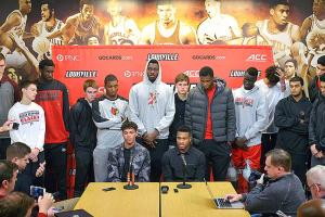 Louisville players Damion Lee and Trey Lewis address the media